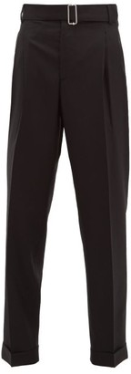 Officine Generale Pierre Buckled Wool Twill Trousers - Womens - Black