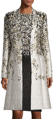 St. John Collection Metallic Pixelated Jacquard Topper, Cream $2,295 thestylecure.com
