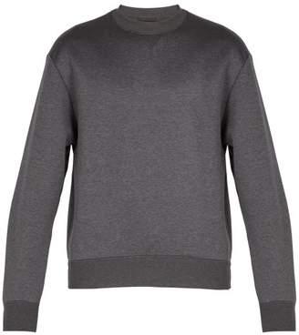 Prada Pintucked Sleeve Cotton Blend Sweatshirt - Mens - Dark Grey