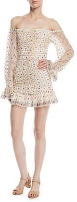 Tularosa Kassandra Off-the-Shoulder Embroidered Mini Dress