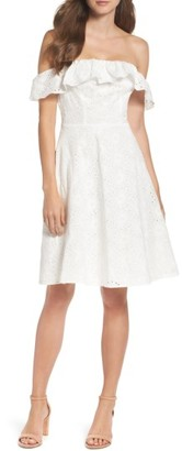 Women's Chelsea28 Eyelet Off The Shoulder Dress $99 thestylecure.com