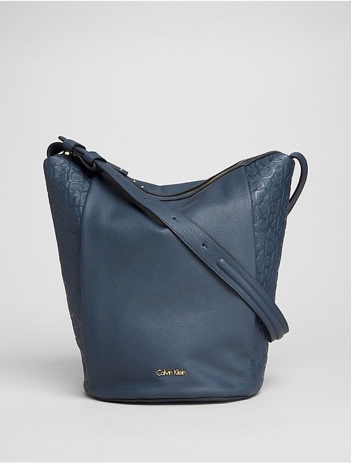 Calvin Klein Faux Leather Embossed Bucket Bag