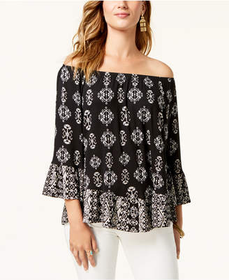 Style&Co. Style & Co Printed Off-The-Shoulder Top