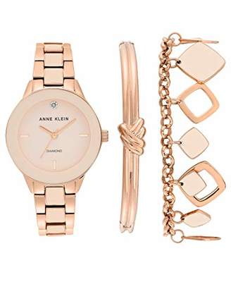 Anne Klein Women's Genuine Diamond Dial Rose Gold-Tone and Blush Pink Watch with Bracelet Set