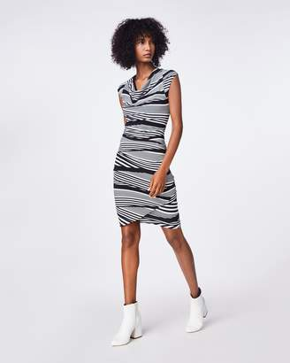 Nicole Miller Wavy Striped Cowl Neck Asymmetrical Dress