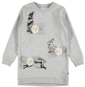 Molo Cassia Rabbit Sweatshirt Dress, Size 2T-12