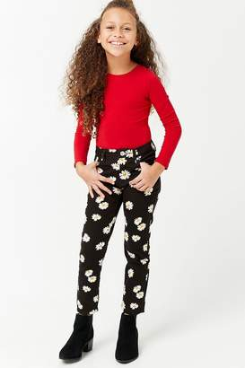Forever 21 Girls Daisy Graphic Print Ankle Jeans (Kids)