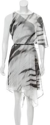 Halston Mesh One-Shoulder Dress