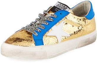 Golden Goose May Metallic Leather Star Sneakers