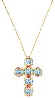 Kenneth Jay Lane Women's Multi-Stone Cross Pendant Necklace