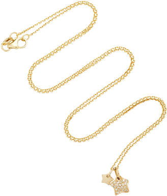 With Love Darling Two Stars 18K Gold Diamond Necklace