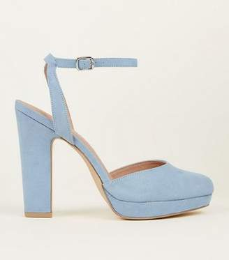 New Look Pale Blue Suedette Two Part Platform Courts