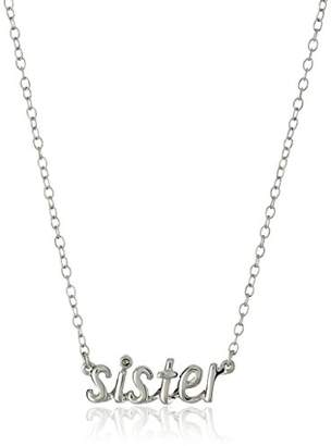 """Sterling Diamond Accent """"Sister"""" Pendant Necklace"""