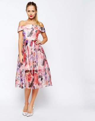 ASOS SALON Floral Organza Off The Shoulder Bardot Midi Prom Dress $138 thestylecure.com