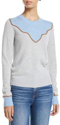 Veronica Beard Atty Crewneck Colorblock Cashmere Pullover Sweater