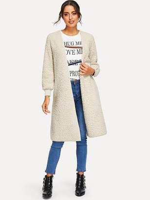 Shein Open Front Solid Teddy Outerwear