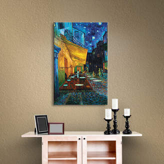 Charlton Home 'Cafe Terrace at Night' by Vincent Van Gogh Framed Oil Painting Print on Canvas in Blue/Yellow/Green