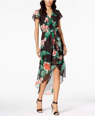 Julia Jordan Floral Print High-Low Wrap Midi Dress