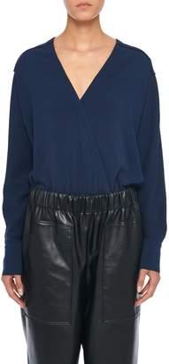 Tibi Savanna Crepe Wrap Bodysuit