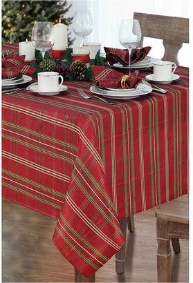 """Elrene Shimmering Plaid Tablecloth - 60"""" x 84"""" Oval"""