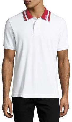 Bally Striped-Collar Polo Shirt, White