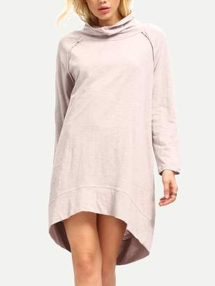 Shein Oatmeal Long Sleeve Casual Dress