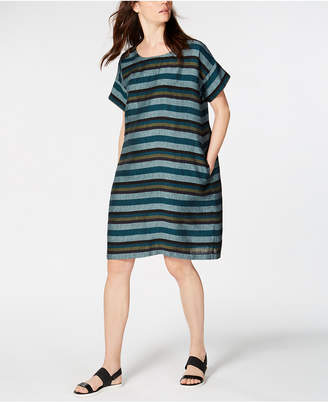 Eileen Fisher Printed Organic Linen Shift Dress, Regular & Petite