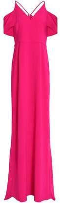 Halston Cold-Shoulder Crepe Gown