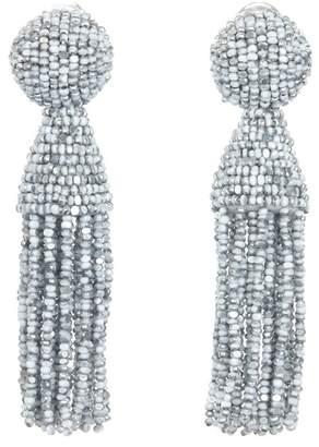 Oscar de la Renta Beaded Clip On Tassel Earrings
