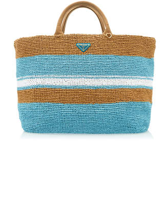 Prada Striped Raffia Tote