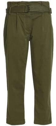 Brunello Cucinelli Belted Cotton-Blend Twill Straight-Leg Pants