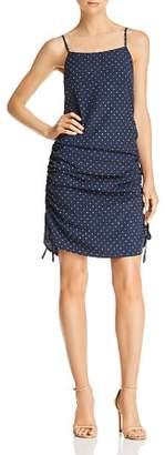 J.o.a. Ruched Polka Dot-Print Dress