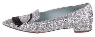 Chiara Ferragni Glitter Pointed-Toe Loafers