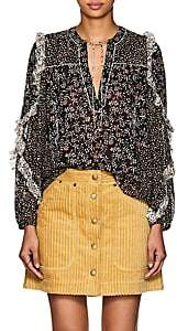 Ulla Johnson Women's Norma Floral Swiss-Dot Silk-Blend Blouse - Black
