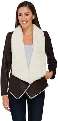 Lisa Rinna Collection Faux Suede Jacket with Sherpa Lining