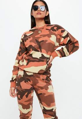 Missguided Orange Camo Long Sleeve Sweatshirt