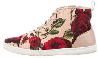 Dolce & Gabbana Floral Print High-Top Sneakers