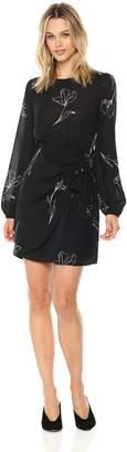 ASTR the Label Women's Tie Skirt Longsleeve Floral Print Draped Dress