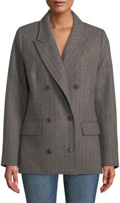 Sea Noemi Double-Breasted Pinstripe Wool-Blend Blazer