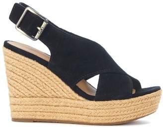 UGG Harlow Black Suede Wedge Sandal