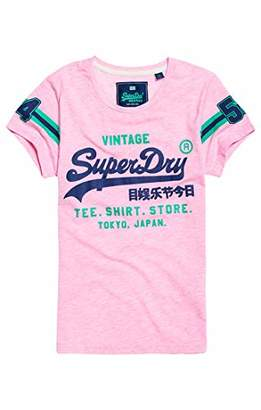 Superdry Women's Shirt Shop Varsity Entry Tee Kniited Tank Top, (Pastel Pink Marl Mrq), (Size: 8)