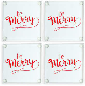 Cathy's Concepts Cathys Concepts Be Merry Glass Coasters, Set of 4