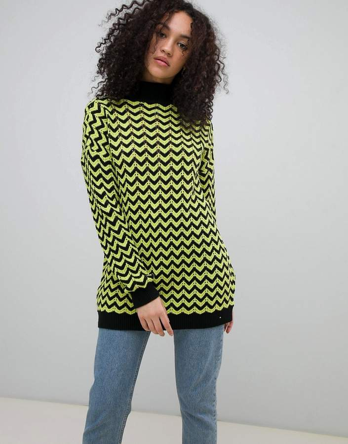 high neck jumper in contrast stripe