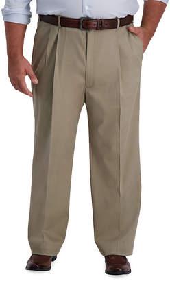 Haggar Iron Free Premium Khaki Big & Tall Mens Classic Fit Pleated Pant - Big