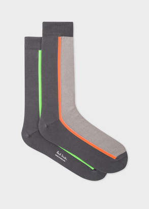Paul Smith Men's Oatmeal And Grey Vertical Stripe Socks
