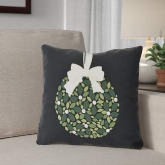 The Holiday Aisle Mistletoe Me Floral Print Outdoor Throw Pillow