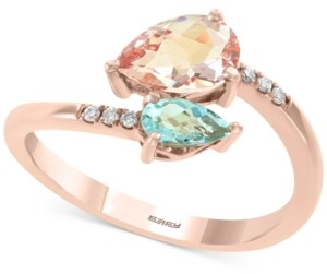 Effy Multi-Gemstone (9/10 ct. t.w.) & Diamond Accent Bypass Ring in 14k Rose Gold