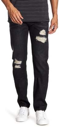 Daniel Won Distressed Leather Pocket Slim Fit Jeans