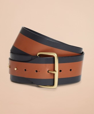 Brooks Brothers Striped Leather Wide Waist Belt