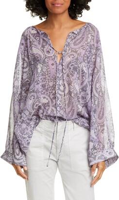 Nili Lotan Acadia Paisley Print Silk Blouse